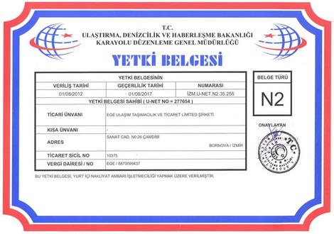 Ege Ulaşım; N2 yurtiçi Eşya Taşımacılığı yetki belgemiz
