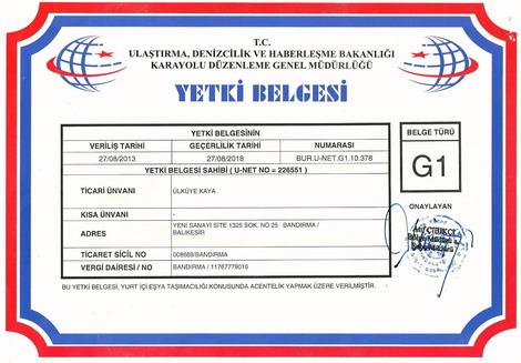 Ege Ulaşım Nakliyat Ambarı Bandırma Acentesi; G1 Yetki Belgesi (Yurtiçi Eşya ve Yük Taşımacılığı Alanında Acentelik yapacaklara verilir.)