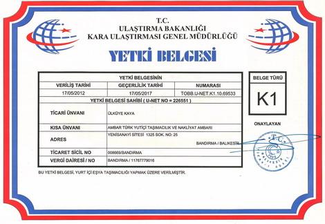 AmbarTÜRK; K1 yurtiçi Eşya Taşımacılığı yetki belgemiz